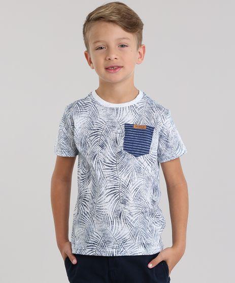 Camiseta-Estampada-de-Folhagens-com-Bolso-Azul-Marinho-8799241-Azul_Marinho_1