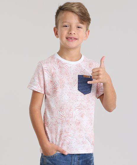 Camiseta-Estampada-de-Folhagens-com-Bolso-Coral-8799255-Coral_1