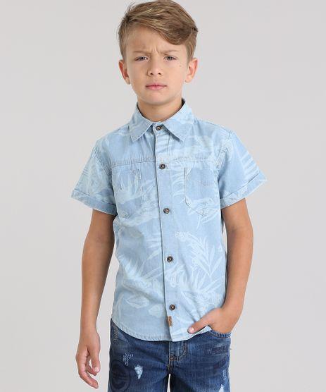 Camisa-Jeans-Estampada-de-Folhagem-Azul-Claro-8804672-Azul_Claro_1