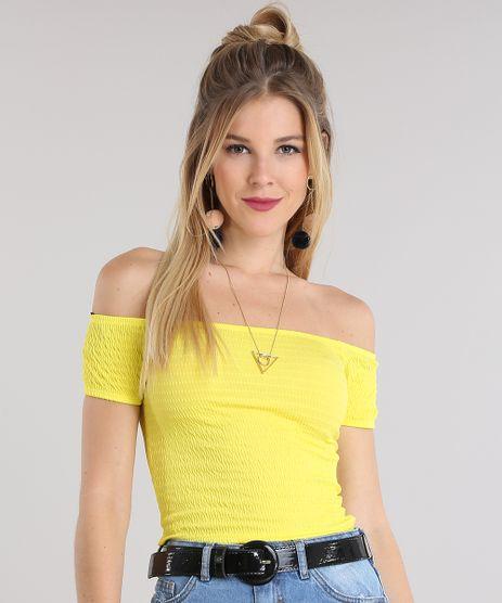 Blusa-Cropped-Ombro-a-Ombro-Texturizada-Amarela-8781685-Amarelo_1