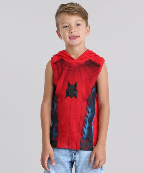 Regata-Homem-Aranha-com-Capuz-Mascara-em-Algodao---Sustentavel-Vermelha-8790003-Vermelho_1