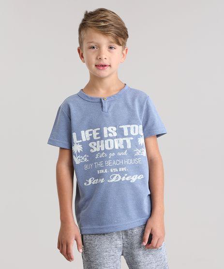 Camiseta-em-Piquet--Life-is-too-short--Azul-8816638-Azul_1