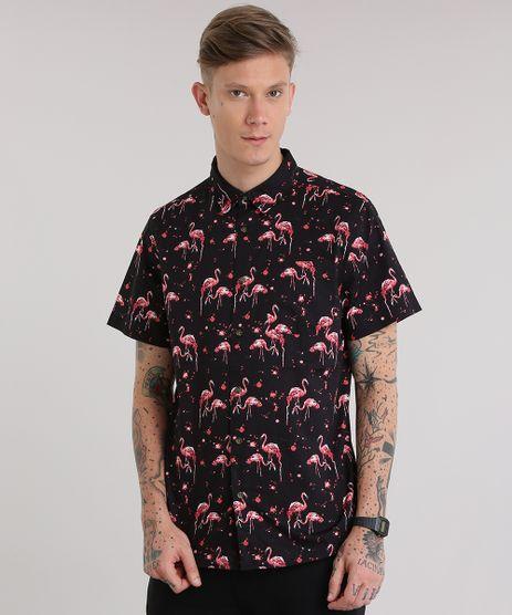Camisa-Estampada-de-Flamingos-Preta-8702816-Preto_1