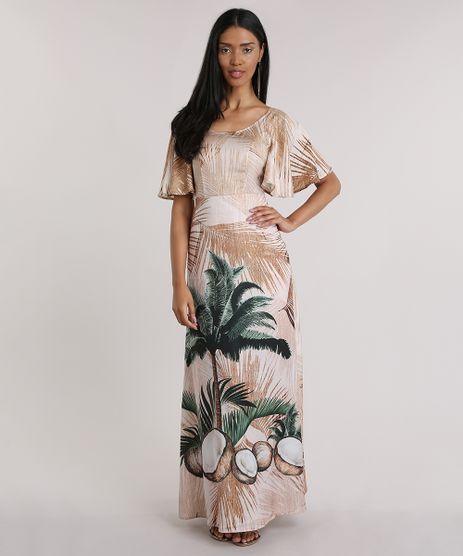 Vestido-Longo-Agua-de-Coco-Estampado-Coqueiros-Bege-8759913-Bege_1