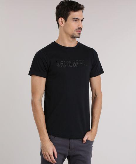 Camiseta-em-Trico-com-Estampa--Waste-Of-Time--Preto-8831035-Preto_1