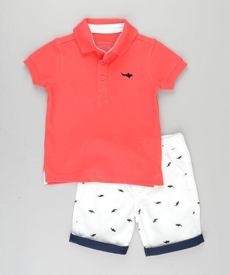 Conjunto-de-Polo-em-Piquet-Vermelha---Bermuda-Estampada-de-Tubarao-em-Algodao---Sustentavel-Branca-8673793-Branco_1