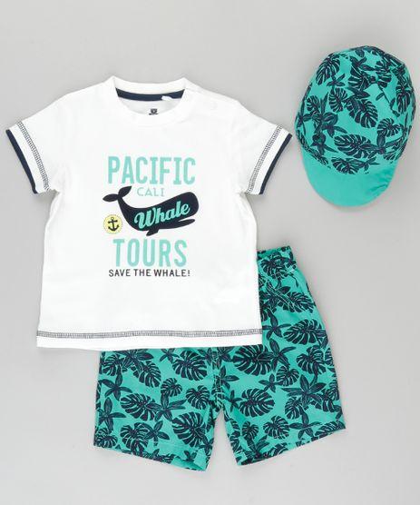 Conjunto-de-Camiseta-Off-White---Bermuda-Verde-Estampada---Bone-em-Algodao---Sustentavel-Verde-8702051-Verde_1