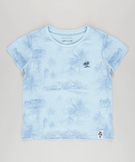 Camiseta-Estampada-de-Coqueiros-em-Algodao---Sustentavel-Azul-Claro-8832089-Azul_Claro_1