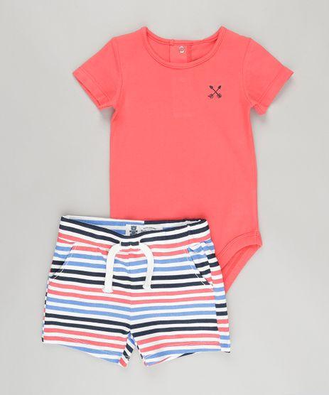 Conjunto-de-Body-Coral---Bermuda-Listrada-em-Moletom-em-Algodao---Sustentavel-Off-White-8705452-Off_White_1