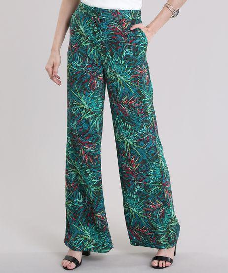Calca-Pantalona-Estampada-de-Folhagem-Verde-Escuro-8754552-Verde_Escuro_1