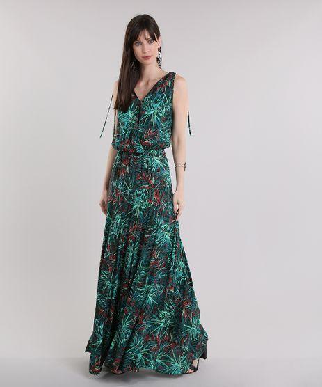 Vestido-Longo-Estampado-de-Folhagem-Verde-Escuro-8735216-Verde_Escuro_1
