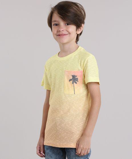 Camiseta-Flame-com-Bolso-Estampado-de-Coqueiro-Amarela-8868324-Amarelo_1