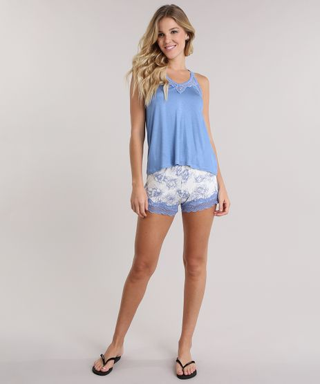 Pijama-Estampado-Floral-com-Renda-Azul-8708523-Azul_1