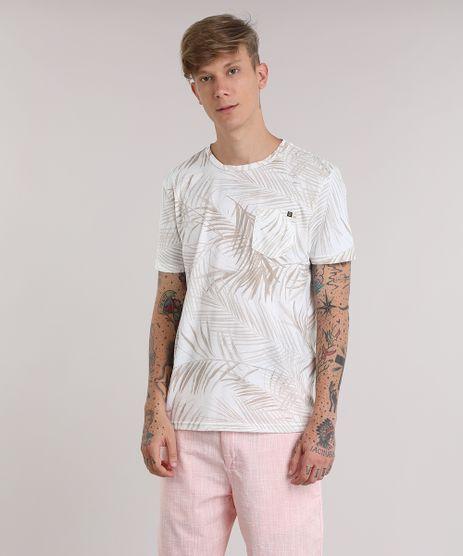 Camiseta-Estampada-de-Folhagem-com-Bolso-Bege-8905743-Bege_1