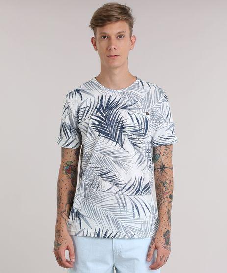 Camiseta-Estampada-de-Folhagem-com-Bolso-Azul-Marinho-8905743-Azul_Marinho_1