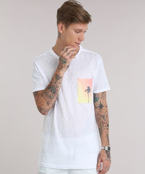 Camiseta-Flame-com-Bolso-Estampado-de-Coqueiro-Branca-8837718-Branco_1