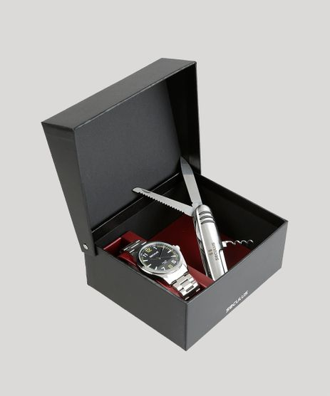 Kit-de-Relogio-Analogico-Seculus-Masculino---Canivete-Suico---228865G0SVNA1K-Prateado-8906707-Prateado_1