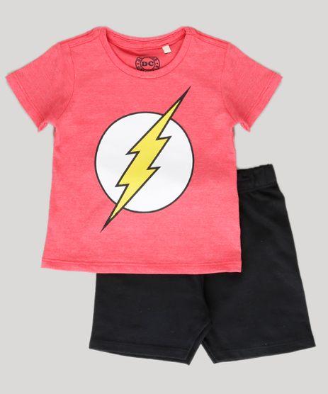 Conjunto-de-Camiseta-Vermelha---Bermuda-Flash-Preta-8962529-Preto_1