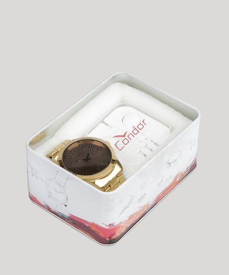 Kit-de-Relogio-Analogico-Condor-Masculino---Fone-de-Ouvido---CO2115XZ-K4C-Dourado-8901968-Dourado_1