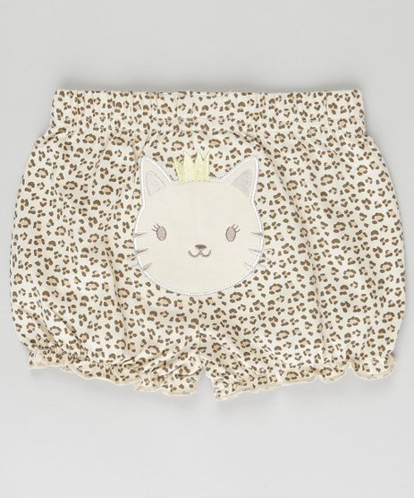 Short-Estampado-Animal-Print-em-Algodao---Sustentavel-Bege-8785417-Bege_1