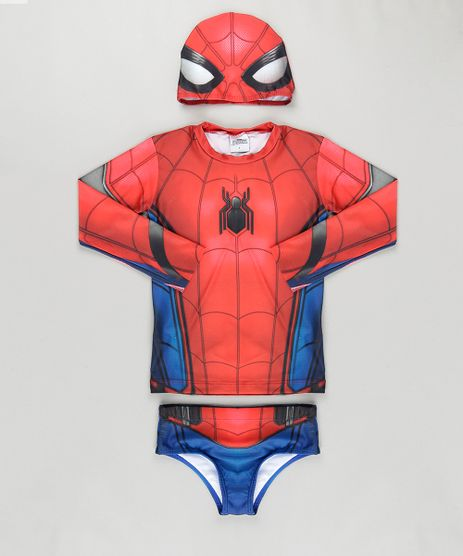 Conjunto-de-Camiseta-Sunga-e-Toca--Homem-Aranha-com-Protecao-UV-50--Vermelho-8798736-Vermelho_1