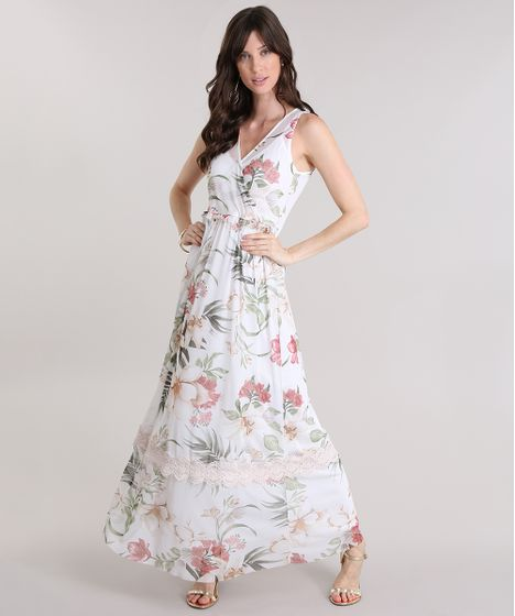 Vestido longo renda off white