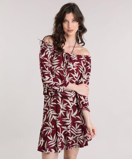 Vestido-Ombro-a-Ombro-Estampado-de-Folhagem-Vinho-9013536-Vinho_1