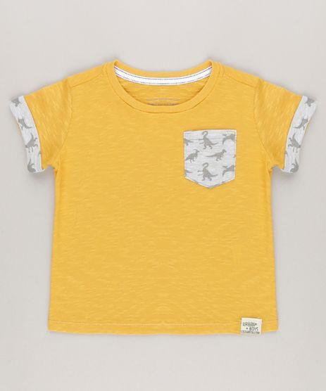 Camiseta-Flame-com-Bolso-Estampado-de--Dinossauros--Amarela-9036816-Amarelo_1