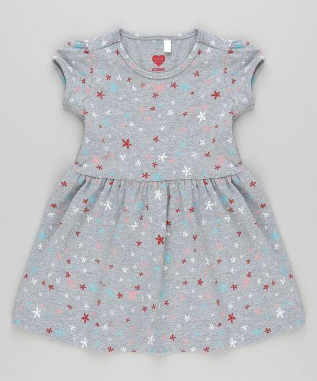 Vestido-Estampado-de-Estrelas-em-Algodao---Sustentavel-Cinza-Mescla-9029957-Cinza_Mescla_1
