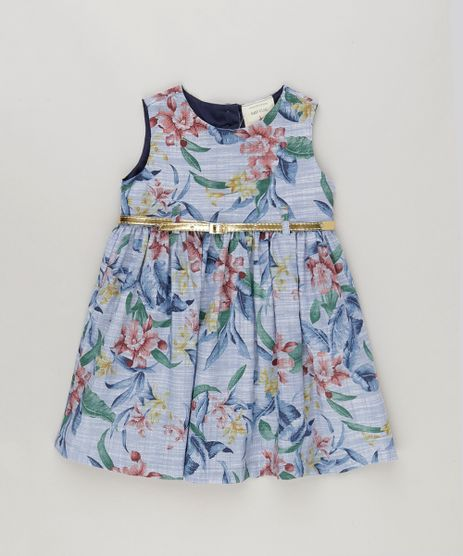 Vestido-Estampado-Floral-Com-Cinto-Metalizado-Azul-9081261-Azul_1