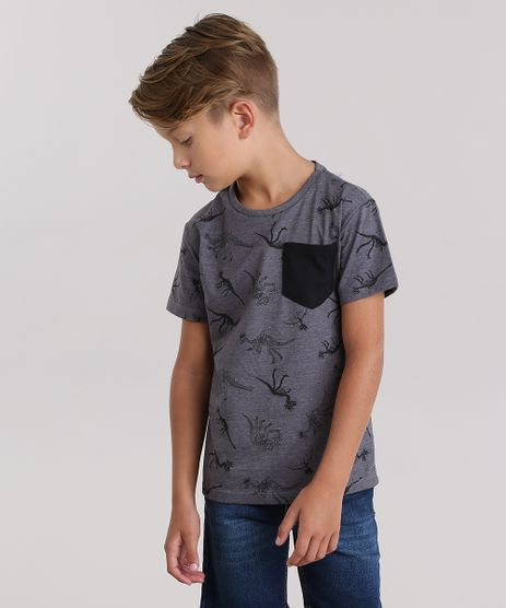 Camiseta-Estampada-de-Dinossauros--Cinza-Mescla-9037934-Cinza_Mescla_1
