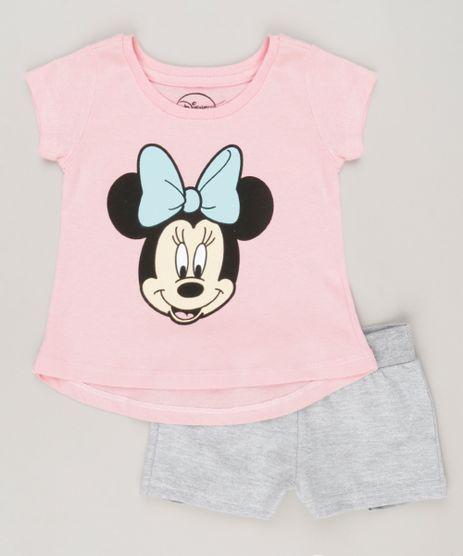 Conjunto-Minnie-de-Blusa-Rosa---Short-em-moleton-Cinza-Mescla-9083804-Cinza_Mescla_1