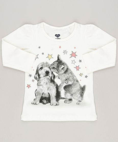 Blusa-Cachorro-e-Gato-com-Glitter-em-Algodao---Sustentavel-Off-White-9043770-Off_White_1