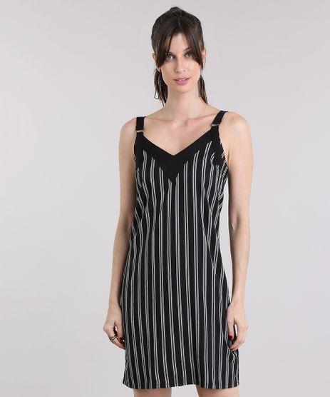 Vestido-Feminino-Listrado-Curto-Preto-8892761-Preto_1