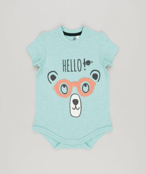 Body-Infantil-Urso-com-Oculos-Interativo-Manga-Curta-em-Algodao---Sustentavel-Verde-Claro-8880257-Verde_Claro_1
