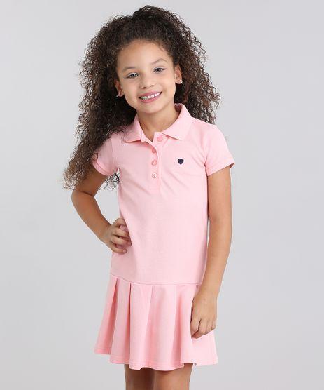 Vestido-Polo-Infantil--com-Bordado-Manga-Curta-em-Piquet-com-Pregas-Rosa-Claro-9014167-Rosa_Claro_1