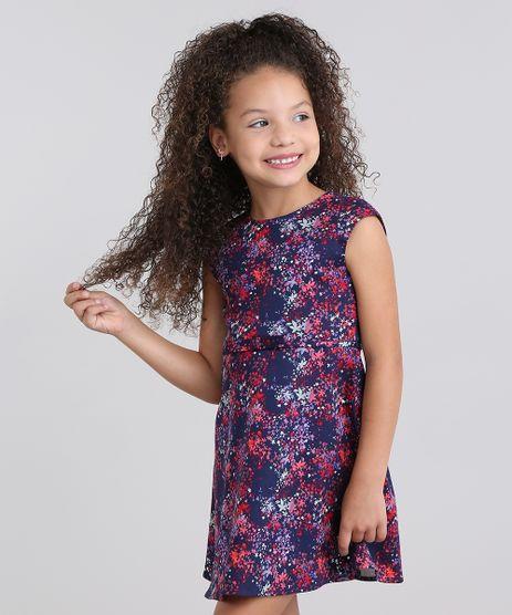 Vestido-Infantil--Estampado-Floral-com-Recorte-Sem-Manga-Azul-Marinho-8822828-Azul_Marinho_1