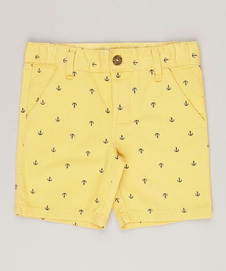 Bermuda-infantil--Estampada-de-Ancoras-Amarela-8799150-Amarelo_1