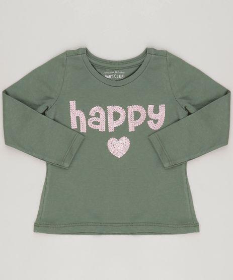 Blusa-Infantil---Happy--com-Paetes-Decote-Careca-Manga-Longa--Verde-Militar-9081880-Verde_Militar_1