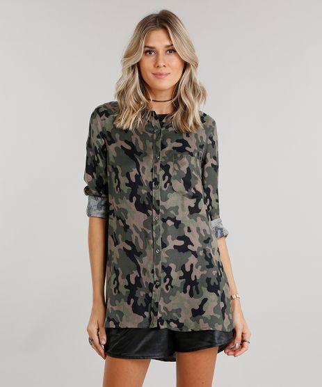 Camisa-Feminina-Longa-Estampada-Camuflada-Manga-Longa-Gola-Redonda-Verde-Militar-8880162-Verde_Militar_1