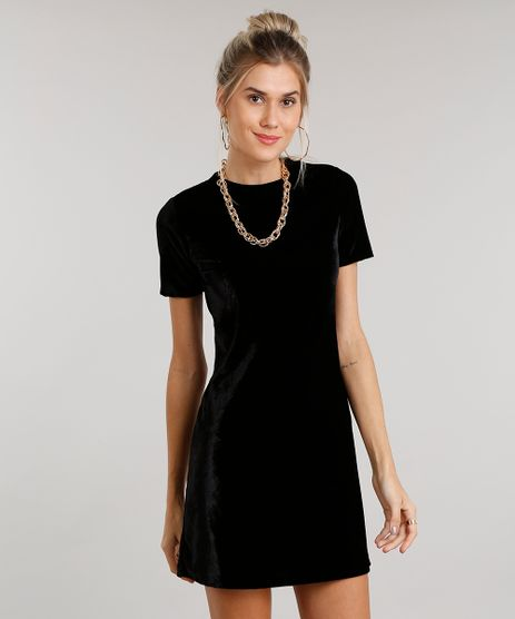 Vestido-Feminino-em-Veludo-Curto-Manga-Curta-Tshirt-Dress-Preto-9016145-Preto_1