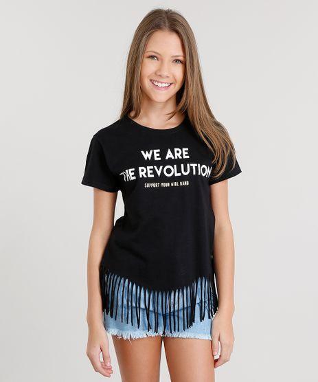 Blusa-Infantil-com-Franjas--We-Are-The-Revolution--Decote-Redondo-Manga-Curta-Preta-9036429-Preto_1