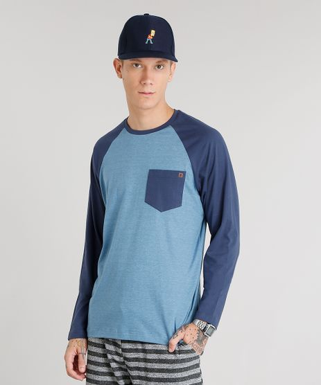 Camiseta-Masculina-com-Bolso-Manga-Longa-Raglan-Gola-Careca-Azul-8582091-Azul_1