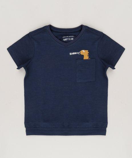 Camiseta-Infantil-Dinossauro-com-Bolso-Manga-Curta-Gola-Redonda-Azul-Marinho-9095177-Azul_Marinho_1