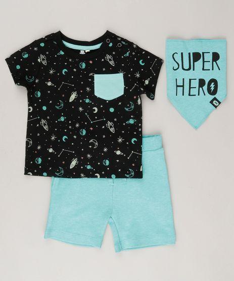 Conjunto-Infantil-com-Camiseta-Estampada-de-Foguetes-Manga-Curta-Preta---Bermuda-em-Moletom---Babador---Super-Hero--Verde-8878379-Verde_1