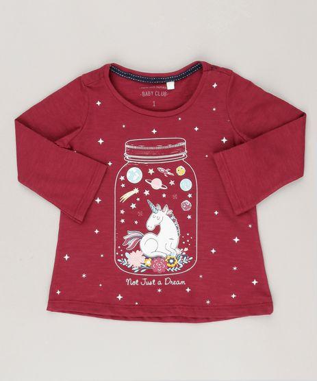 Blusa-Infantil--Unicornio--Brilha-no-Escuro-Decote-Redondo-Manga-Longa-em-Algodao---Sustentavel-Vinho-9044893-Vinho_1
