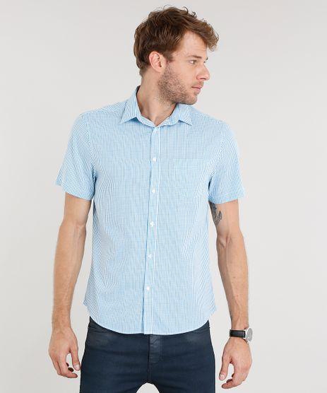 Camisa-Masculina-Comfort-Xadrez-Manga-Curta-Azul-Claro-8851735-Azul_Claro_1