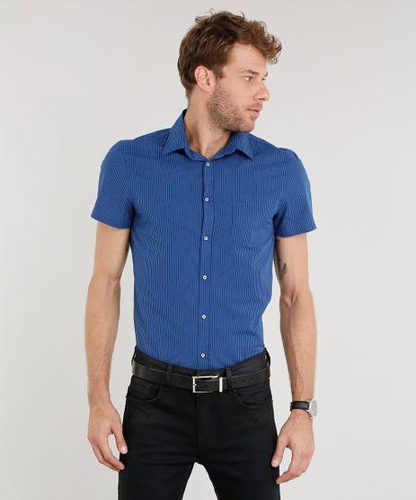 Camisa-Masculina-Slim-Listrada-Manga-Curta-Azul-Marinho-8851743-Azul_Marinho_1