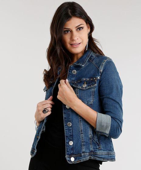 Jaqueta-Jeans-Feminina-com-Tachas-Manga-Longa-Azul-Escuro-9011565-Azul_Escuro_1