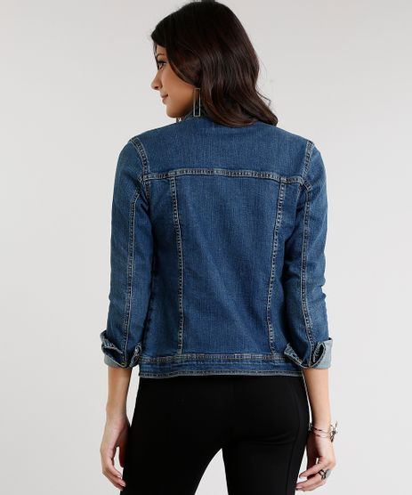 Jaqueta-Jeans-Feminina-com-Tachas-Manga-Longa-Azul-Escuro-9011565-Azul_Escuro_2
